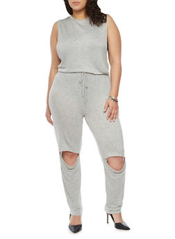 Plus Size French Terry Jumpsuit with Knee Slits - HEATHER - 1392058931515