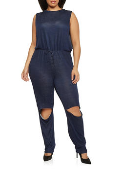 Plus Size French Terry Jumpsuit with Knee Slits - 1392058931515
