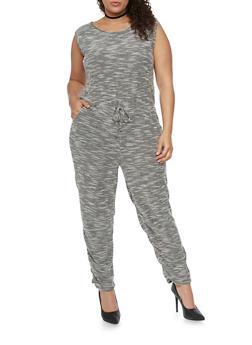 Plus Size Sleeveless Marled Knit Jumpsuit - 1392058933121