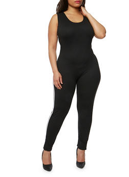 Plus Size Solid Sleeveless Catsuit with Varsity Stripe - BLACK - 1392058937324