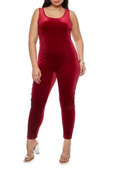 Plus Size Solid Velvet Catsuit - 1392061634729