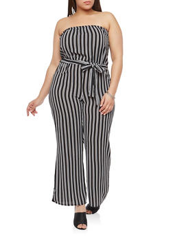 Plus Size Crepe Knit Striped Jumpsuit - 1392074012024
