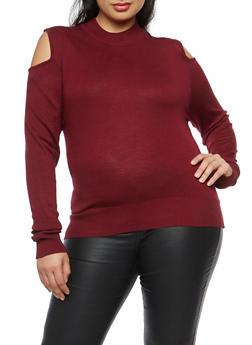 Plus Size Cold Shoulder Sweater - 1393038340106
