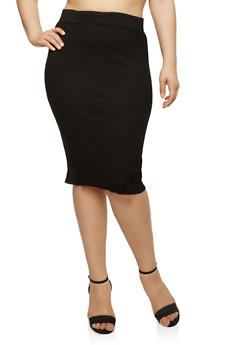 Plus Size Rib Knit Pencil Skirt - 1393038340107
