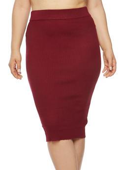 Plus Size Rib Knit Pencil Skirt - 1393038340107