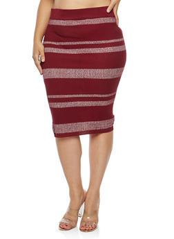 Plus Size Striped Rib Knit Pencil Skirt - 1393038340109