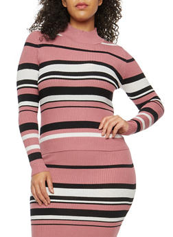 Plus Size Striped Rib Knit Sweater - 1393038340110