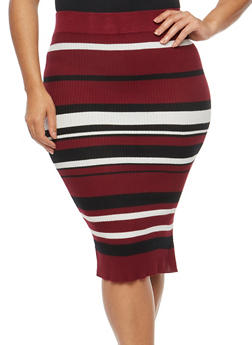 Plus Size Striped Ribbed Knit Skirt - 1393038340111