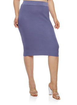 Plus Size Ribbed Knit Pencil Skirt - 1393038340113