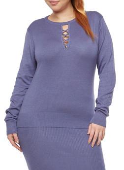Plus Size Caged Keyhole Neck Sweater - 1393038340114