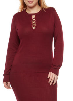 Plus Size Caged Keyhole Neck Sweater - 1393038340114