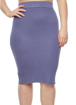 Plus Size Sweater Knit Pencil Skirt - 1393038340115