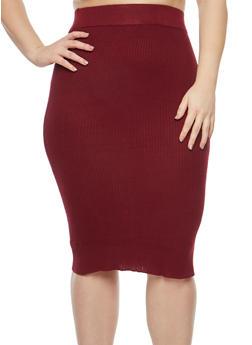 Plus Size Sweater Knit Pencil Skirt - 1393038340115