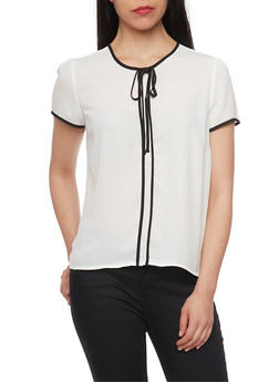 Short Sleeve Blouse with Contrast Trim - WHT-BLK - 1401054211159