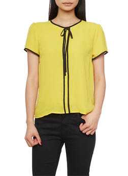Short Sleeve Blouse with Contrast Trim - 1401054211159