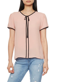 Short Sleeve Blouse with Contrast Trim - BLUSH BLK - 1401054211159