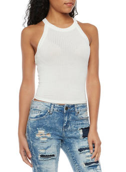 Crop Tank Top in Ribbed Knit - WHITE - 1401054211471