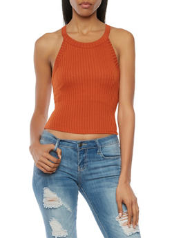 Crop Tank Top in Ribbed Knit - 1401054211471