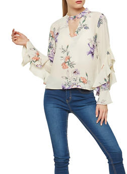 Textured Knit Floral Ruffle Sleeve Top - 1401054211927