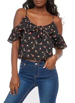 Floral Cold Shoulder Tie Front Top - 1401054212121
