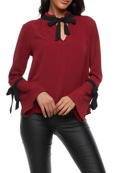 Crepe Knit Contrast Tie Blouse - 1401054212161