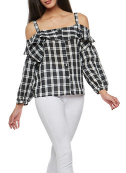 Plaid Button Front Cold Shoulder Top - 1401054212176