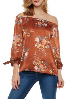 Floral Satin Off the Shoulder Top - 1401054212177