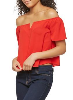 Crepe Knit Off the Shoulder Top - 1401054212275