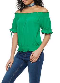 Smocked Trim Off the Shoulder Top - 1401054212451