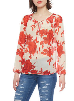 Long Sleeve Sheer Floral Blouse with Keyhole - 1401054212769