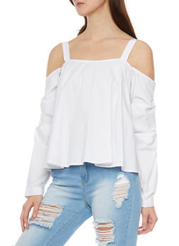 Cold Shoulder Rouched Long Sleeve Top - 1401054213143