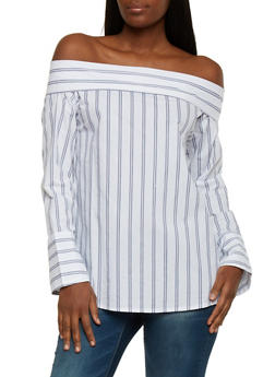 Striped Off the Shoulder Long Sleeve Top - 1401054213167