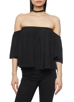 Off the Shoulder Crepe Top with Flutter Sleeves - 1401054213169