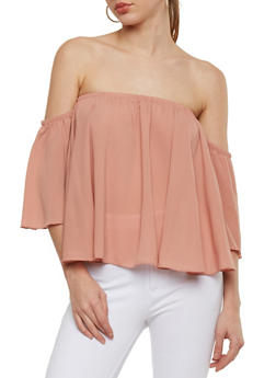 Off the Shoulder Crepe Top with Flutter Sleeves - 1401054213169