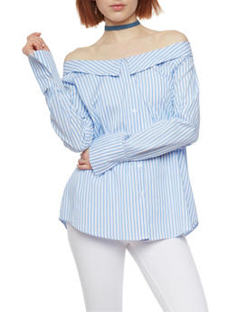 Striped Off the Shoulder Button Front Shirt - 1401054213171