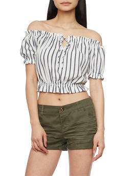 Striped Off Shoulder Crop Top - 1401054213183