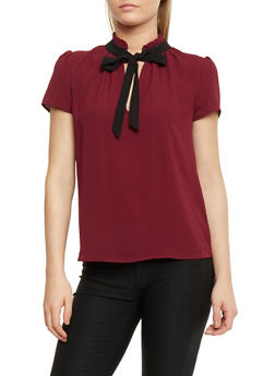Crepe Knit Top with Front Tie Detail - 1401054213187
