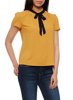 Crepe Knit Top with Front Tie Detail - MUSTARD - 1401054213187