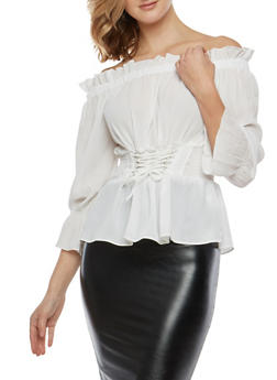 Lace Up Smocked Waist Off the Shoulder Top - 1401054213213