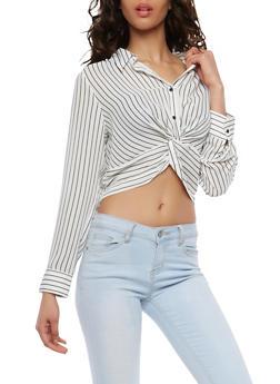 Twist Front Striped Crop Top - 1401054213306