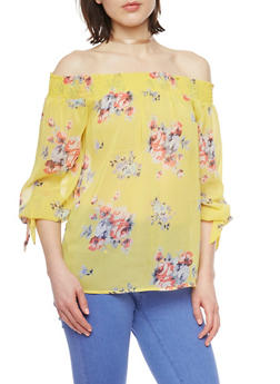 Smocked Off the Shoulder Floral Top with Tie Sleeves - 1401054213850