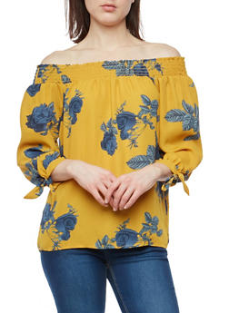 Floral Tie Sleeve Off the Shoulder Top - 1401054213858