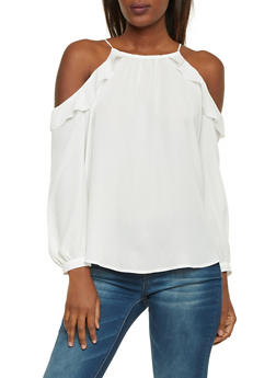 Ruffle Cold Shoulder Top with Spaghetti Straps - IVORY - 1401054213941