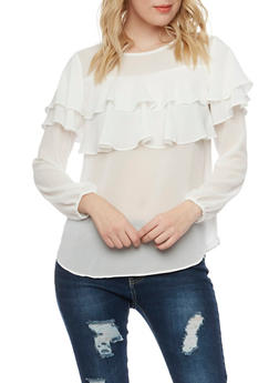 Chiffon Blouse with Tiered Ruffle Accent - IVORY - 1401054213951