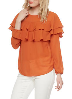 Chiffon Blouse with Tiered Ruffle Accent - 1401054213951