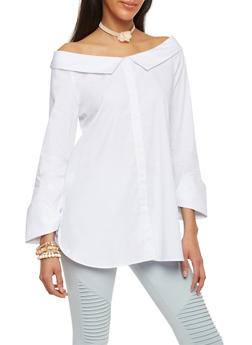 Off Shoulder Button Up Long Sleeve Top - 1401054214006