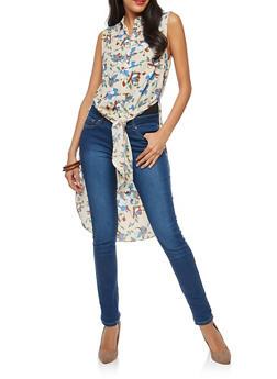 Floral Slit Button Front Maxi Top - 1401054214181