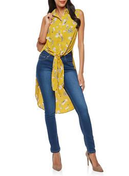Floral Sleeveless Button Front Maxi Top - 1401054214182