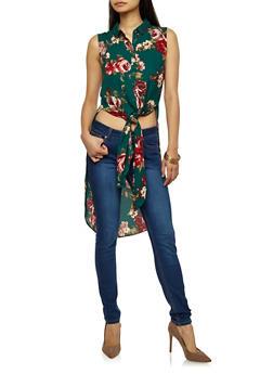 Rose Print Sleeveless Button Front Maxi Top - 1401054214184