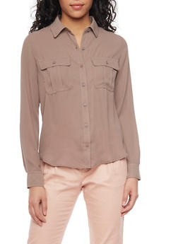 Chiffon Button Up Long Sleeve Shirt with Pockets - 1401054214300